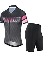 cheap -CAWANFLY Men's Short Sleeve Cycling Jersey with Shorts Summer Grey Bike Sports Geometic Mountain Bike MTB Road Bike Cycling Clothing Apparel / Micro-elastic / Athleisure / Triathlon