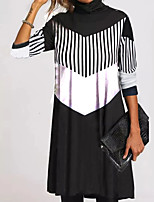 cheap -Women's Sheath Dress Knee Length Dress Black 3/4 Length Sleeve Color Block Geometric Ruched Print Fall Winter Turtleneck Casual 2021 S M L XL XXL 3XL