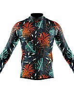 cheap -21Grams Men's Long Sleeve Cycling Jersey Spandex Polyester Black / Green Floral Botanical Funny Bike Top Mountain Bike MTB Road Bike Cycling Quick Dry Moisture Wicking Breathable Sports Clothing