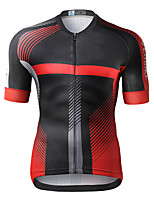 cheap -21Grams Men's Short Sleeve Cycling Jersey Summer Spandex Red Blue Stripes Bike Top Mountain Bike MTB Road Bike Cycling Quick Dry Moisture Wicking Sports Clothing Apparel / Athleisure