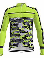 cheap -21Grams Men's Long Sleeve Cycling Jersey Spandex Green Camo / Camouflage Bike Top Mountain Bike MTB Road Bike Cycling Quick Dry Moisture Wicking Sports Clothing Apparel / Athleisure