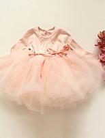 cheap -Kids Little Girls' Dress Solid Colored Mesh Blue Blushing Pink Knee-length Long Sleeve Cute Dresses Fall Regular Fit 2-8 Years