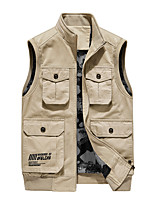 cheap -Men's Fishing Vest Hiking Vest Sleeveless Outerwear Trench Coat Top Outdoor Thermal Warm Windproof Multi-Pockets Quick Dry Autumn / Fall Winter Spring Pocket Printing Denim Cotton Solid Color Army