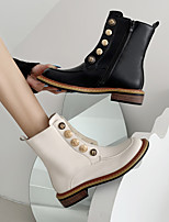 cheap -Women's Boots Block Heel Round Toe Daily PU Button Solid Colored Black Beige