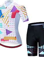 cheap -21Grams Women's Short Sleeve Cycling Jersey with Shorts Summer Spandex Polyester White Funny Bike Clothing Suit 3D Pad Quick Dry Moisture Wicking Breathable Back Pocket Sports Patterned Mountain Bike