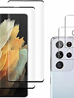 cheap -[2+2 pack] galaxy s21 ultra screen protector include 2 pack tempered glass screen protector +2 pack tempered glass camera lens protector,9h hardness,3d curved,high definition for galaxy s21 ultra 5g