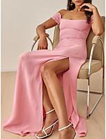 cheap -Sheath / Column Empire Minimalist Wedding Guest Formal Evening Dress Off Shoulder Short Sleeve Floor Length Stretch Chiffon with Ruffles Split 2021