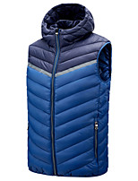 cheap -Men's Vest Gilet Street Daily Fall Winter Regular Coat Zipper Hoodie Regular Fit Thermal Warm Breathable Casual Jacket Sleeveless Color Block Quilted Pocket Blue Wine Black