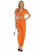 cheap -Prisoner Cosplay Costume Adults' Women's Halloween Halloween Halloween Festival / Holiday Terylene Orange Women's Easy Carnival Costumes Solid Color / Top / Pants