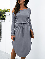 cheap -Women's Loose Knee Length Dress Blue Fuchsia khaki Green Light Grey Black Dark Gray Long Sleeve Solid Color Modern Style Fall Winter Off Shoulder Casual 2021 S M L XL