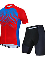 cheap -CAWANFLY Men's Short Sleeve Cycling Jersey with Shorts Summer Red+Blue Bike Sports Geometic Mountain Bike MTB Road Bike Cycling Clothing Apparel / Micro-elastic / Athleisure / Triathlon
