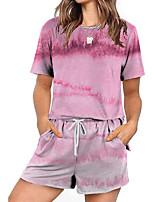 cheap -Women Basic Streetwear Oil Painting Casual Vacation Two Piece Set Tracksuit T shirt Loungewear Biker Shorts Jogger Pants Drawstring Print Tops