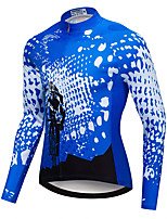 cheap -21Grams Men's Long Sleeve Cycling Jersey Spandex Blue Bike Top Mountain Bike MTB Road Bike Cycling Quick Dry Moisture Wicking Sports Clothing Apparel / Stretchy / Athleisure