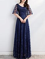 cheap -A-Line Minimalist Elegant Wedding Guest Formal Evening Dress V Neck Half Sleeve Floor Length Lace with Sash / Ribbon Pleats Pattern / Print 2021