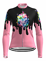 cheap -21Grams Women's Long Sleeve Cycling Jersey Spandex Pink Skull Bike Top Mountain Bike MTB Road Bike Cycling Quick Dry Moisture Wicking Sports Clothing Apparel / Stretchy / Athleisure