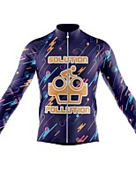 cheap -21Grams Men's Long Sleeve Cycling Jersey Spandex Polyester Purple Funny Bike Top Mountain Bike MTB Road Bike Cycling Quick Dry Moisture Wicking Breathable Sports Clothing Apparel / Athleisure
