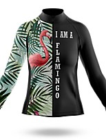 cheap -21Grams Women's Long Sleeve Cycling Jersey Spandex Polyester Black / Green Flamingo Floral Botanical Funny Bike Top Mountain Bike MTB Road Bike Cycling Quick Dry Moisture Wicking Breathable Sports
