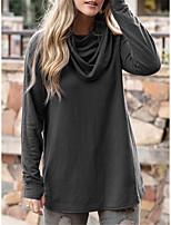 cheap -Women's T shirt Plain Long Sleeve Cowl Neck Rock Tops Blue Wine Khaki