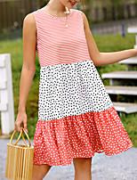 cheap -Women's A Line Dress Knee Length Dress Yellow Blushing Pink Wine Black Sleeveless Polka Dot Striped Patchwork Print Summer Round Neck Casual 2021 S M L XL XXL 3XL 4XL 5XL
