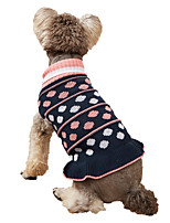 cheap -Dog Cat Sweater Dress Dog clothes Polka Dot Elegant Euramerican Weekend Homewear Winter Dog Clothes Puppy Clothes Dog Outfits Warm Blue Gray Costume for Girl and Boy Dog Knitted XS S M L XL