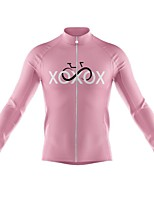 cheap -21Grams Men's Long Sleeve Cycling Jersey Spandex Pink Bike Top Mountain Bike MTB Road Bike Cycling Quick Dry Moisture Wicking Sports Clothing Apparel / Athleisure