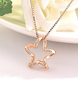 cheap -Pendant Necklace Necklace Women's Classic Cubic Zirconia Rose Gold Plated Simple Fashion Classic Casual / Sporty Sweet Cute Rose Gold 45 cm Necklace Jewelry 1pc for Street Gift Daily Prom Festival