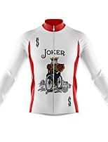 cheap -21Grams Men's Long Sleeve Cycling Jersey Spandex White Poker Bike Top Mountain Bike MTB Road Bike Cycling Quick Dry Moisture Wicking Sports Clothing Apparel / Athleisure