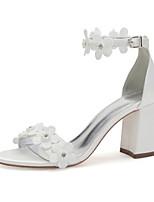 cheap -Women's Wedding Shoes Chunky Heel Open Toe Wedding Satin Rhinestone Imitation Pearl Flower Solid Colored Ivory