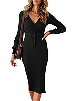 cheap -Women's Sheath Dress Knee Length Dress Wine Green White Black Brown Long Sleeve Solid Color Ruched Fall Winter V Neck Work Elegant Casual 2021 S M L XL