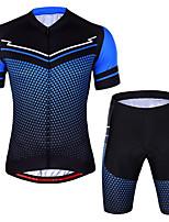 cheap -CAWANFLY Men's Short Sleeve Cycling Jersey with Shorts Summer Blue / Black Bike Sports Geometic Mountain Bike MTB Road Bike Cycling Clothing Apparel / Micro-elastic / Athleisure / Triathlon