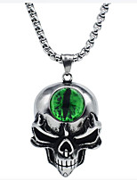 cheap -Pendant Necklace Men's Women's Geometrical Synthetic Emerald Titanium Steel Skull Vintage Cool Silver 65 cm Necklace Jewelry 1pc for Halloween Street Daily Club Festival Geometric