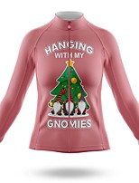 cheap -21Grams Women's Long Sleeve Cycling Jersey Spandex Polyester Pink Santa Claus Funny Bike Top Mountain Bike MTB Road Bike Cycling Quick Dry Moisture Wicking Breathable Sports Clothing Apparel