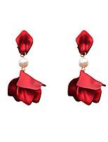 cheap -red matte flower drop earrings for women christmas gift statement pearl petal earring fashion jewelry (flower drop earring-red)