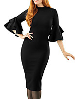 cheap -Women's Sheath Dress Knee Length Dress Blue Black 3/4 Length Sleeve Solid Color Ruffle Fall Round Neck Work Elegant Formal 2021 S M L XL XXL 3XL 4XL 5XL 6XL