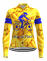 cheap -21Grams Women's Long Sleeve Cycling Jersey Spandex Polyester Yellow Fluorescent Funny Fruit Bike Top Mountain Bike MTB Road Bike Cycling Quick Dry Moisture Wicking Breathable Sports Clothing Apparel