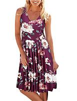 cheap -Women's A Line Dress Knee Length Dress Leopard Dark Khaki Leaves Navy blue and white flowers Navy blue safflower Navy Blue Red Blue Grey Black Red Sleeveless Multi Color Print Spring Summer U Neck