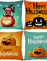 cheap -Halloween Double Side Cushion Cover 4PC Soft Decorative Square Throw Pillow Cover Cushion Case Pillowcase for Bedroom Livingroom Superior Quality Machine Washable Indoor Cushion for Sofa Couch Bed Chair