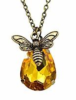 cheap -golden vintage inspired yellow crystals queen bee pendant necklace jewelry for women girls honey bee little bumblebee pendant