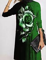 cheap -Women's A Line Dress Short Mini Dress Rose flower-red Roses-Gray Roses-Purple Rose Flower-Green Rose Flower-Blue Long Sleeve Floral Print Fall Turtleneck Casual Holiday 2021 S M L XL XXL XXXL 4XL 5XL