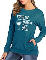 cheap -Women's Painting T shirt Graphic Text Long Sleeve Pocket Print Round Neck Basic Tops Cotton Blue Blushing Pink Light gray