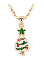 cheap -Women's Girls' Pendant Necklace Charm Necklace Classic Precious Christmas Tree Fashion Gold Plated Chrome Rainbow 45 cm Necklace Jewelry 1pc For Christmas Halloween Party Evening Gift Festival