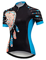 cheap -21Grams Women's Short Sleeve Cycling Jersey Summer Spandex Bule / Black Bike Top Mountain Bike MTB Road Bike Cycling Quick Dry Moisture Wicking Sports Clothing Apparel / Stretchy / Athleisure
