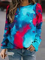 cheap -Women's Sweatshirt Pullover Tie Dye Print Daily Sports 3D Print Active Streetwear Hoodies Sweatshirts  Blue