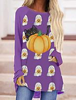 cheap -Women's Halloween Cat Painting T shirt Cat Pumpkin Long Sleeve Print Round Neck Basic Halloween Tops Purple Orange / 3D Print
