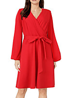 cheap -Women's A Line Dress Knee Length Dress Black Red Beige Long Sleeve Solid Color Lace up Fall V Neck Work Elegant Casual 2021 S M L XL XXL