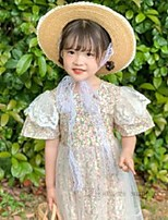 cheap -girls lace flowers embroidery gauze dresses summer kids floral printed splicing tulle princess dress children holiday clothing q0110