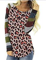 cheap -Women's T shirt Leopard Long Sleeve Print Round Neck LGBT Pride Tops Blue Blushing Pink Brown