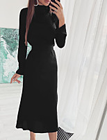cheap -Women's Sheath Dress Midi Dress Wine Khaki Black Long Sleeve Solid Color Lace up Fall Winter Turtleneck Casual 2021 S M L XL