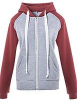 cheap -Women's Hoodie Zip Up Hoodie Sweatshirt Color Block Zipper Patchwork Front Pocket Daily Sports Cotton Active Streetwear Hoodies Sweatshirts  Purple Gray Red
