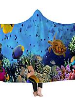cheap -Hooded Blanket Cloak Children's Blanket Napping Blanket Ocean Series Double Thicker Blanket